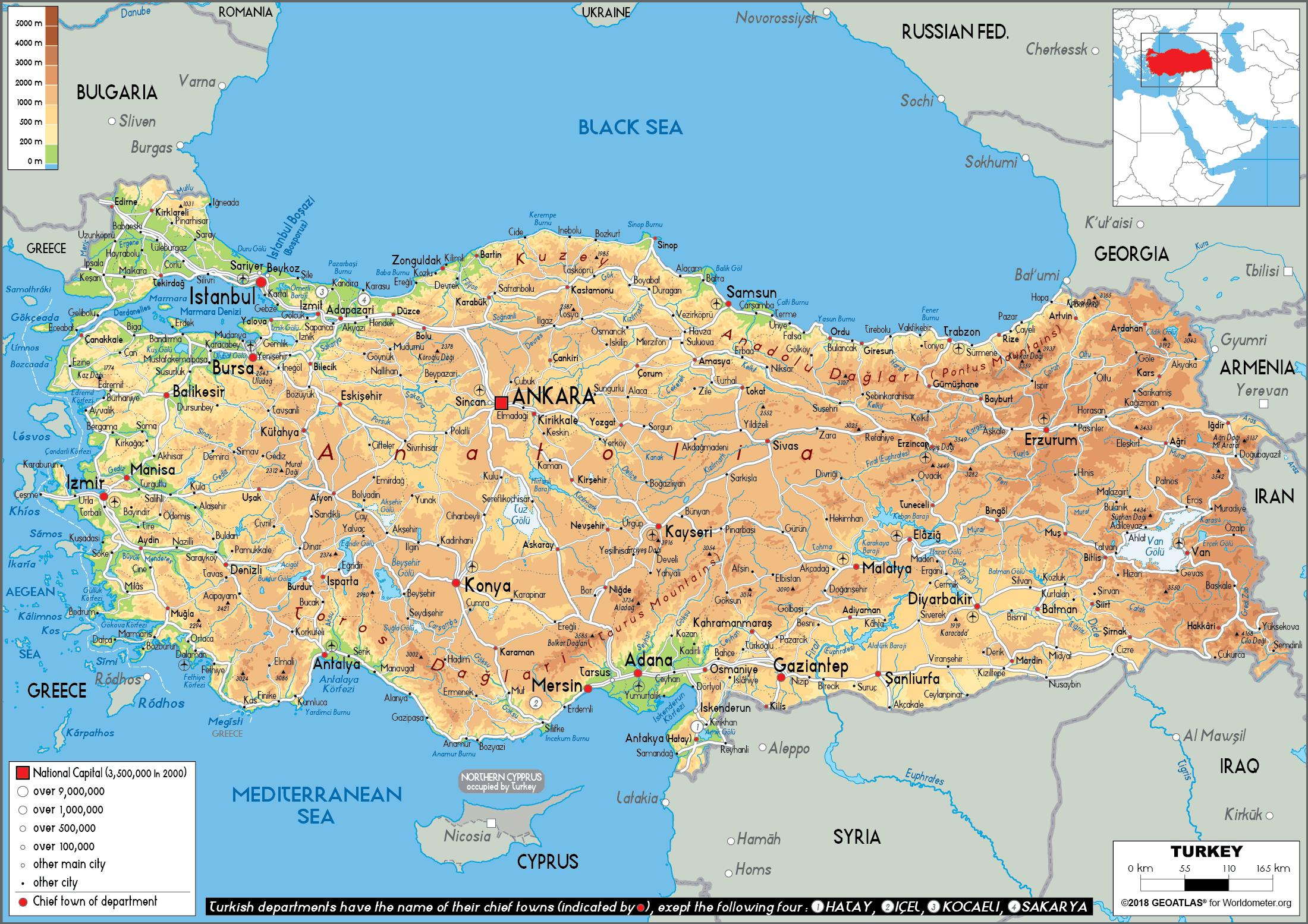 harta fizica turcia Harta fizică a Turcia   Harta Turcia fizice (Asia de Vest   Asia) harta fizica turcia